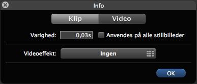 Indtast 0,03s i Klipjusteringer i iMovie